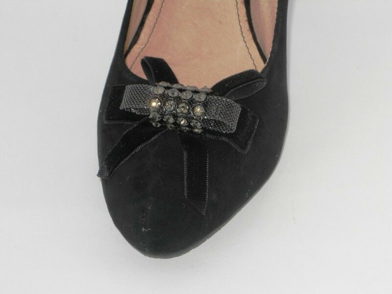 CAFENOIR DECOLLETE DECOLTE Schuhe Damens Damens Damens CAMOSCIO NERO TACCO 11 SPILLO CON FIOCCO 68098f