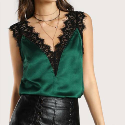 Women Fitness Green Black Lace Trim Double V Neck Satin Silk Sleeveless Shirts