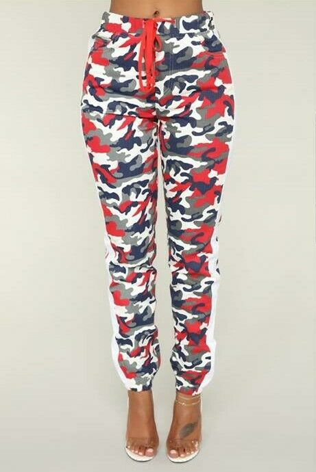 36 POINT 5 BRAND FROM FASHION NOVA AVERIE CAMO JOGGERS RED blue SZ. 1X FREE GIFT