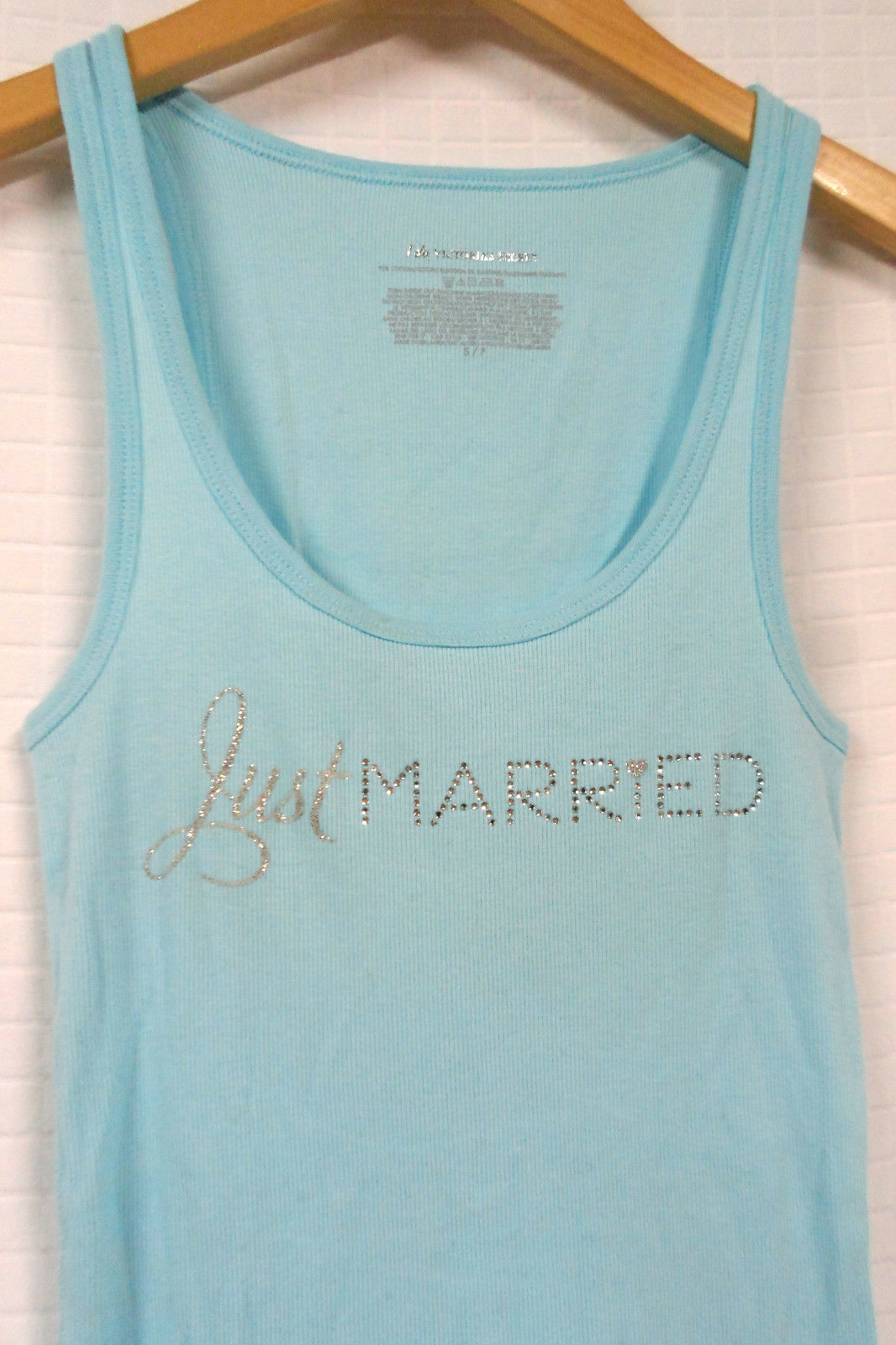 VICTORIA'S SECRET I Do LIGHT Blue JUST Married RHINESTONE Bride TANK TOP Sz S