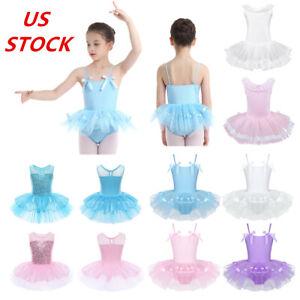 US-Kids-Girls-Ballet-Dance-Dress-Leotard-Tutu-Skirts-Gymnastics-Skating-Costumes