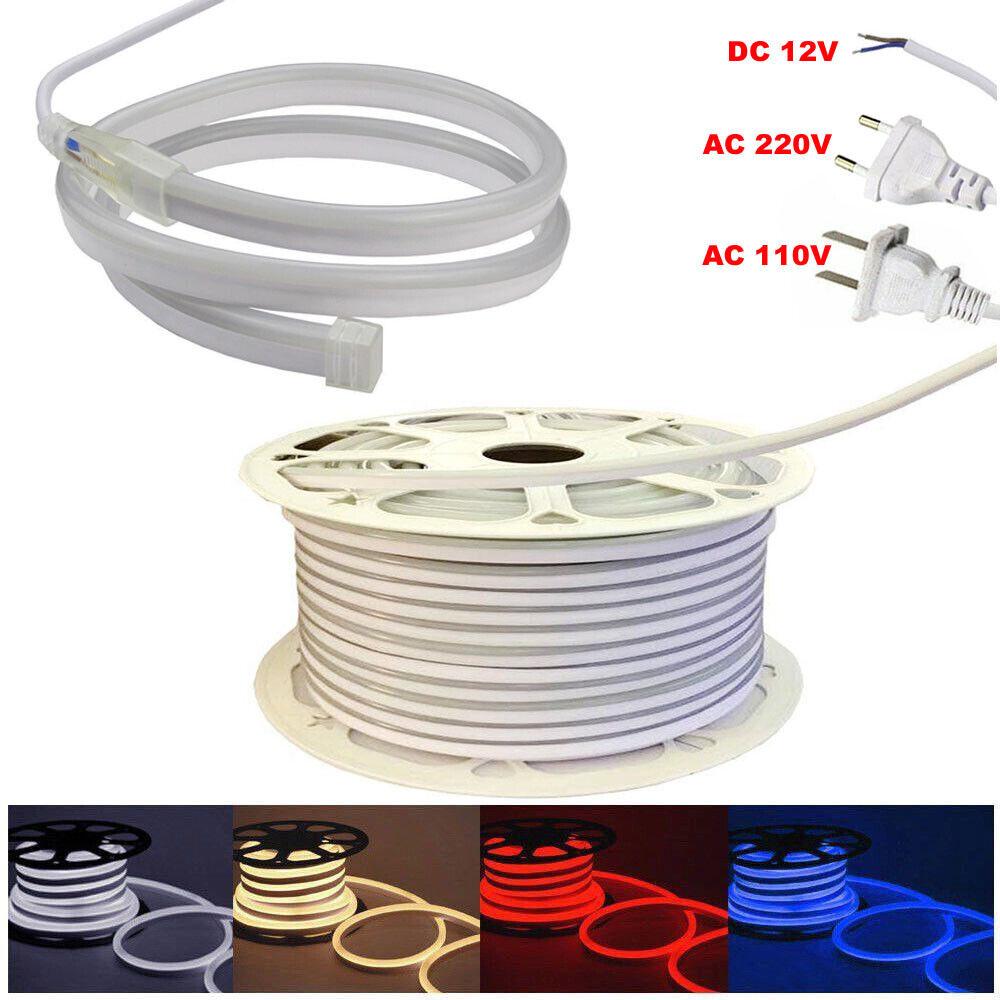 LED Neon Cuerda Tira Luces 2835 SMD 120LED M Luz De Alambre Cuerda AC110V 220V DC12V