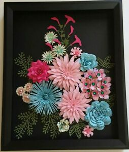 Details About Chrysanthemums Roses Paper Flower Arrangement Handmade 3 D Wall Art Home Decor