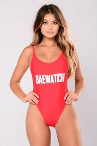 bb5545363a7 Red Baewatch Bae Watch Baywatch Sexy Low Cut Side Cleavage One Piece ...