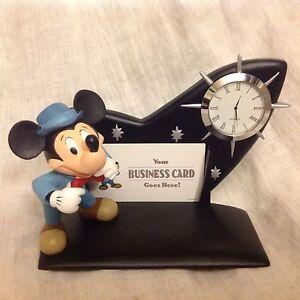 Disney mickey mouse figurine desk clock card holder mib ebay image is loading disney mickey mouse figurine desk clock card holder colourmoves Gallery