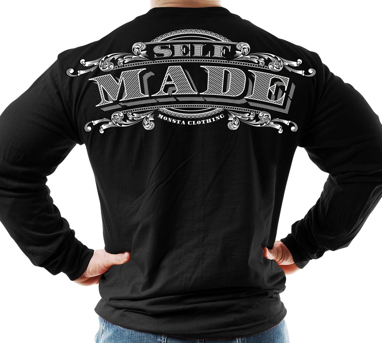 New Men's Monsta Clothing Fitness Gym Longsleeve - Self Made