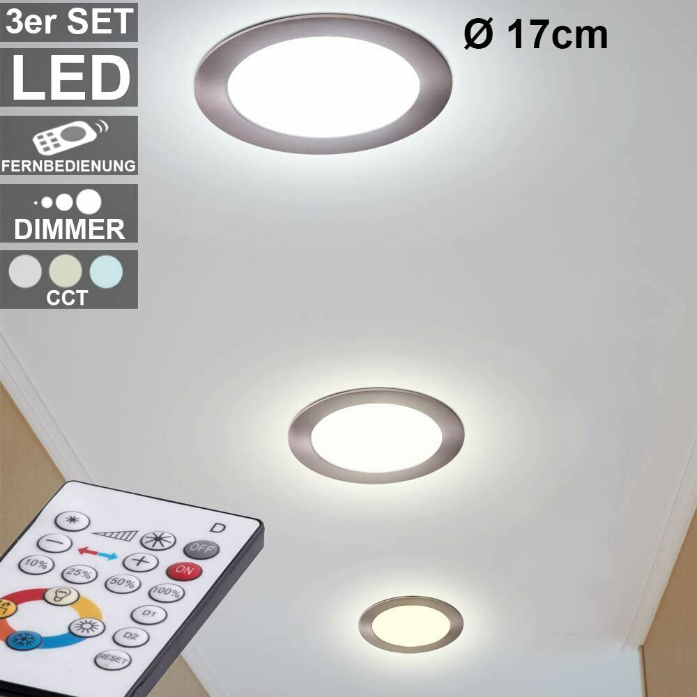 3x LED Ceiling Recessed Lamps Aluminum Spot Dimmable Daylight  REMOTE CONTROL