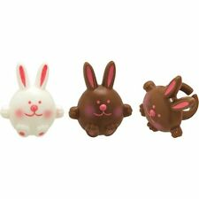 12 Easter Bunny Cupcake Rings  Easter Spring White & Brown Chunky