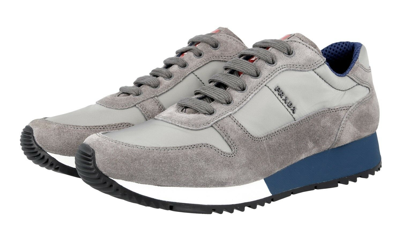 LUXUS PRADA MATCHRACE SNEAKER SCHUHE 3E5939 grey blue NEU NEW 38 38,5