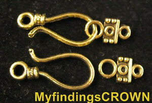 16//48 Sets Tibetan Silver Switch Toggle Curved hook Clasps Bracelet Connectors