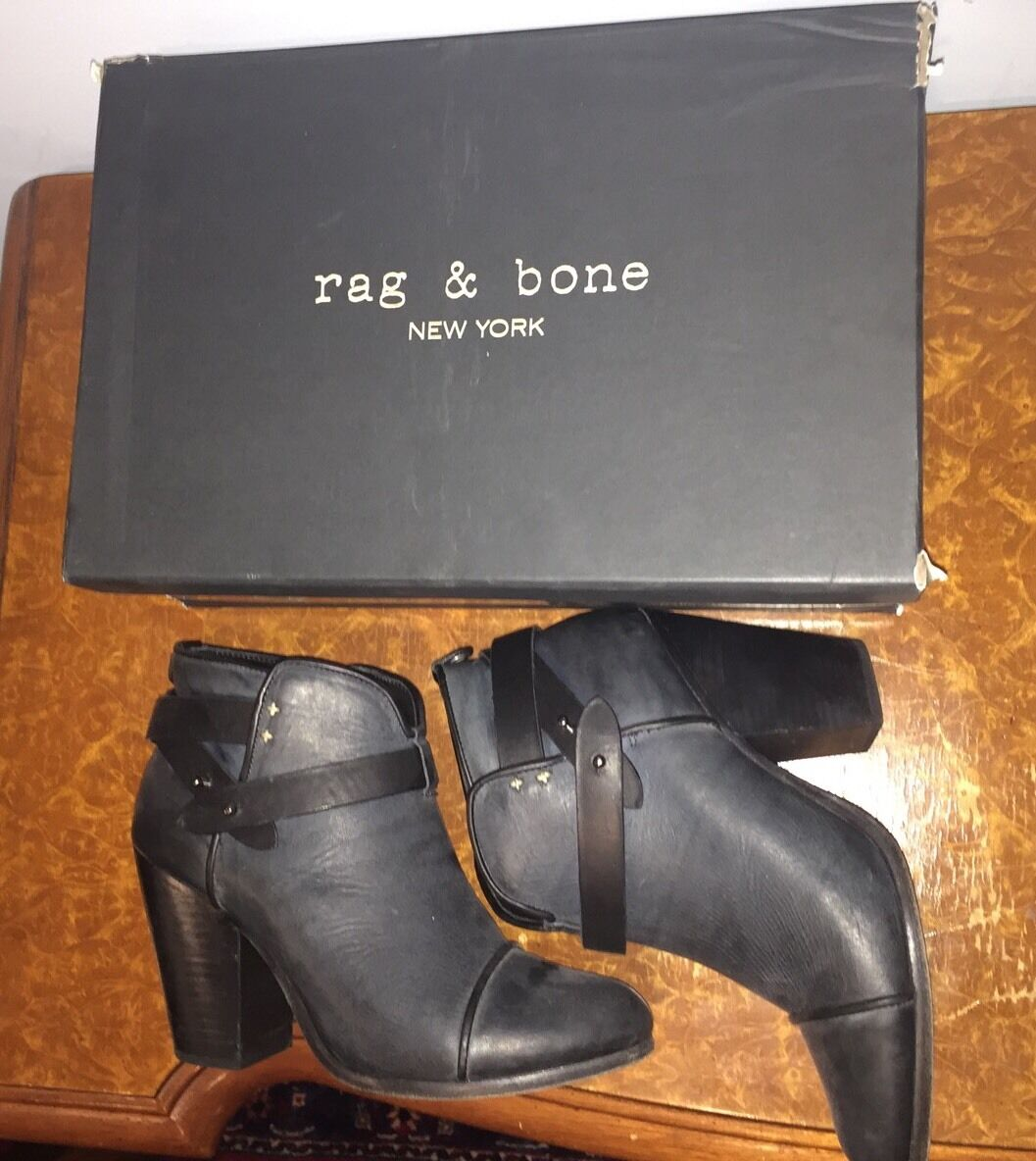 Rag & Bone Harrow Booties Navy Leather Size 40 Marine Boot Heels bluee Black