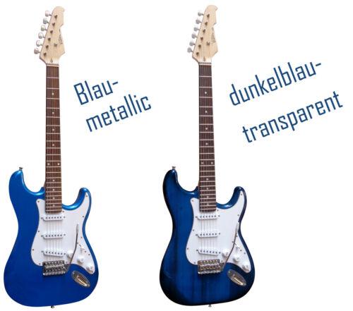 mit Anschlußkabel!n Massivholzkörper Top AUSWAHL E-Gitarre MSA-ST5 schwarz