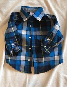 Gymboree-Shirt-Size-6-12-Months-Blue-plaid-EUC