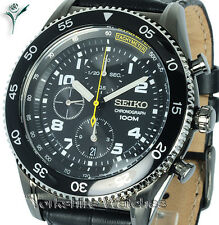 Mens SEIKO SPORTS ION BLACK CASE CHRONO WITH BLACK LEATHER BUCKLE STRAP SNDG61P1