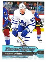2016-17 Upper Deck #460 FREDERIK GAUTHIER RC Rookie YOUNG GUNS Maple Leafs