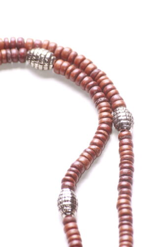 Tradicional /& atemporal-Marrón Cuentas de Madera /& Chrome Collar Largo Zx152