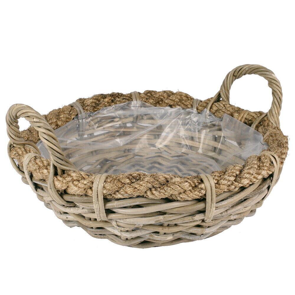 Kubu ratán pflanzschale con borde de cuerda ø40x13cm, cesta con lámina!!!