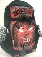 Nwt Black Disturbed Demon Face Asylum Metal Rock Band School Backpack Book Bag