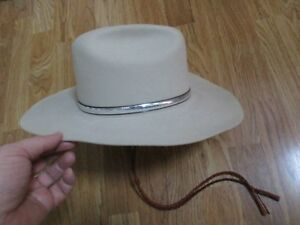 ed35ba6e8833c9 Vintage Cowboy Hat - Cattleman's Style - Silver hatband - Chin strap ...