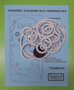 Pleasure Isle Gottlieb Paradise Hawaiian Isle pinball rubber ring kit