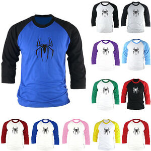 Details about Spider-Man Marvel Comics Superhero Slim 3/4 Sleeve Raglan  Baseball T-Shirts Tops