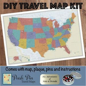 Diy Tan Oceans Us Push Pin Travel Map Kit Ebay - Us-pin-map