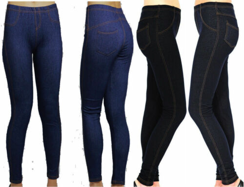 New Women/'s Ladies Plus Size Stretchy Denim Look Skinny Jeggings Leggings 14-34