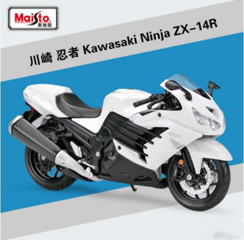 112 Maisto Kawasaki Ninja Zx 14r Motorcycle Bike Model New In Box White