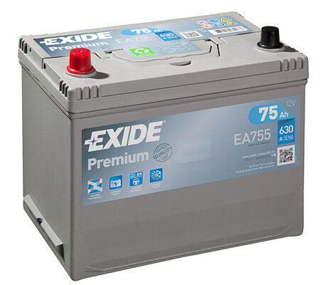 Exide Premium EA755 SUV 4X4 Battery 12V 75Ah 630A TOYOTA LAND CRUISER 200 80