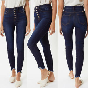 New Kancan Dark Blue Wash Terri Ultra Super High Waist Button Fly Skinny Jeans Ebay