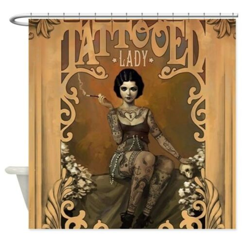 1783588633 CafePress The Amazing Tattooed Lady Shower Curtain