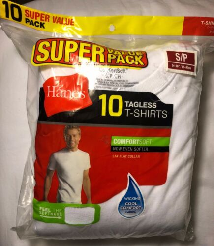 Hanes Mens T-Shirts 10-Pack WHITE TAGLESS Comfort Soft Crew Neck 100/% Cotton S
