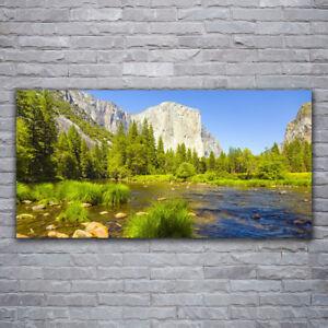Wandbilder Glasbilder Druck auf Glas 120x60 See Gebirge Wald Landschaft