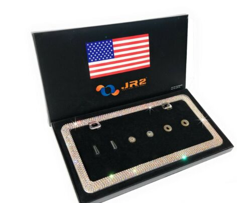 JR2 Luxury Handmade Super Bling Crystal Metal License Plate Frame+Anti theft Cap