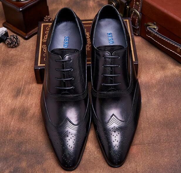 2019 Men's Real Leather PointyToe Lace Up Wing Tips Oxfords Dress Wedding shoes