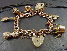 VINTAGE 1960s - 70s 9ct Gold Charm Braccialetto Ciondoli & 7 9ct - 26g