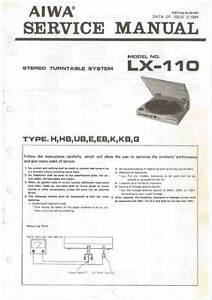 aiwa lx 110 lx 110 turntable service manual in color version rh ebay ie Chilton Manuals 02 Mazda Protege5 Repair Manuals