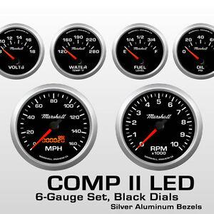 C2-6-Gauge-Set-Black-Dials-Silver-Bezels-240-33-Ohm-Fuel-Level-2066