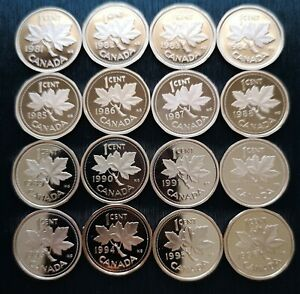 CANADA-LOT-OF-16-ONE-CENT-PROOF-CAMEO-1981-1996
