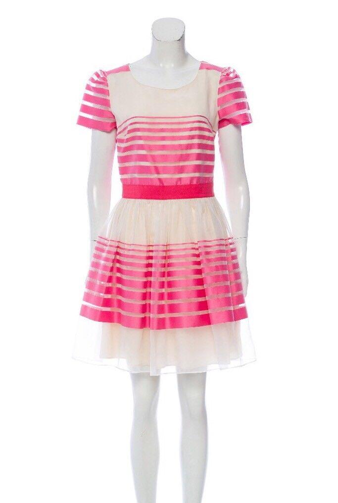 blueGIRL by blueMARINE NWT Striped Pink Ivory Dress Sz US 8 IT 44