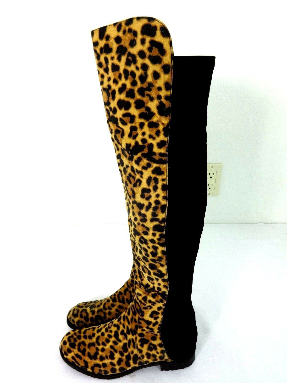 UNISA GILLEAN WOMENS LEOPARD OVER-THE-KNEE BOOTS SIZE 5.5M NEW W O BOX