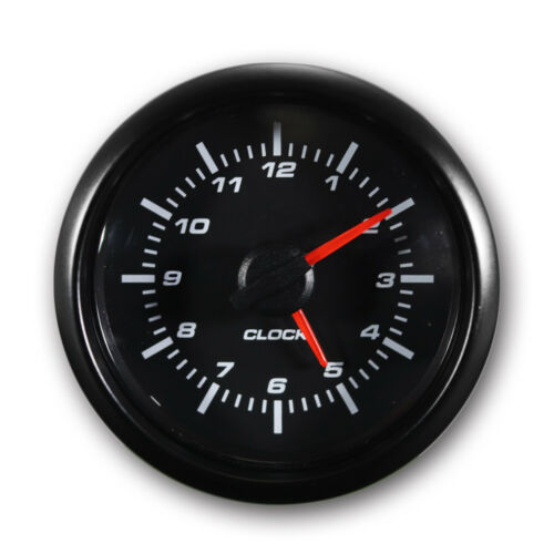 Clock 52 mm Auto Gauge Black Face Black Stainless Steel Rim with Panel