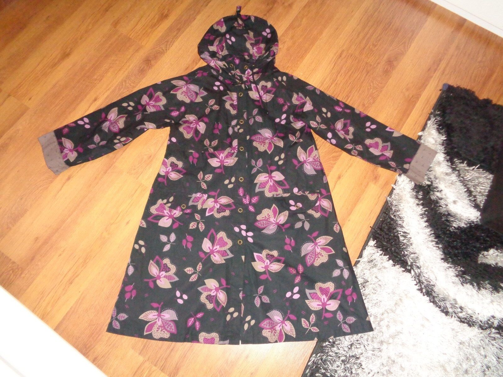 GUDRUN SJODEN AMAZING COTTON FLORAL HOODED A-LINE RELAXED TRENCH COAT-M,12-UK