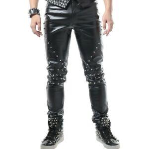 Uomo-IN-FINTA-PELLE-CON-BORCHIE-CONO-Pantaloni-Pantaloni-PU-Bottoms-STADIO-Costume-Punk-Nuovo