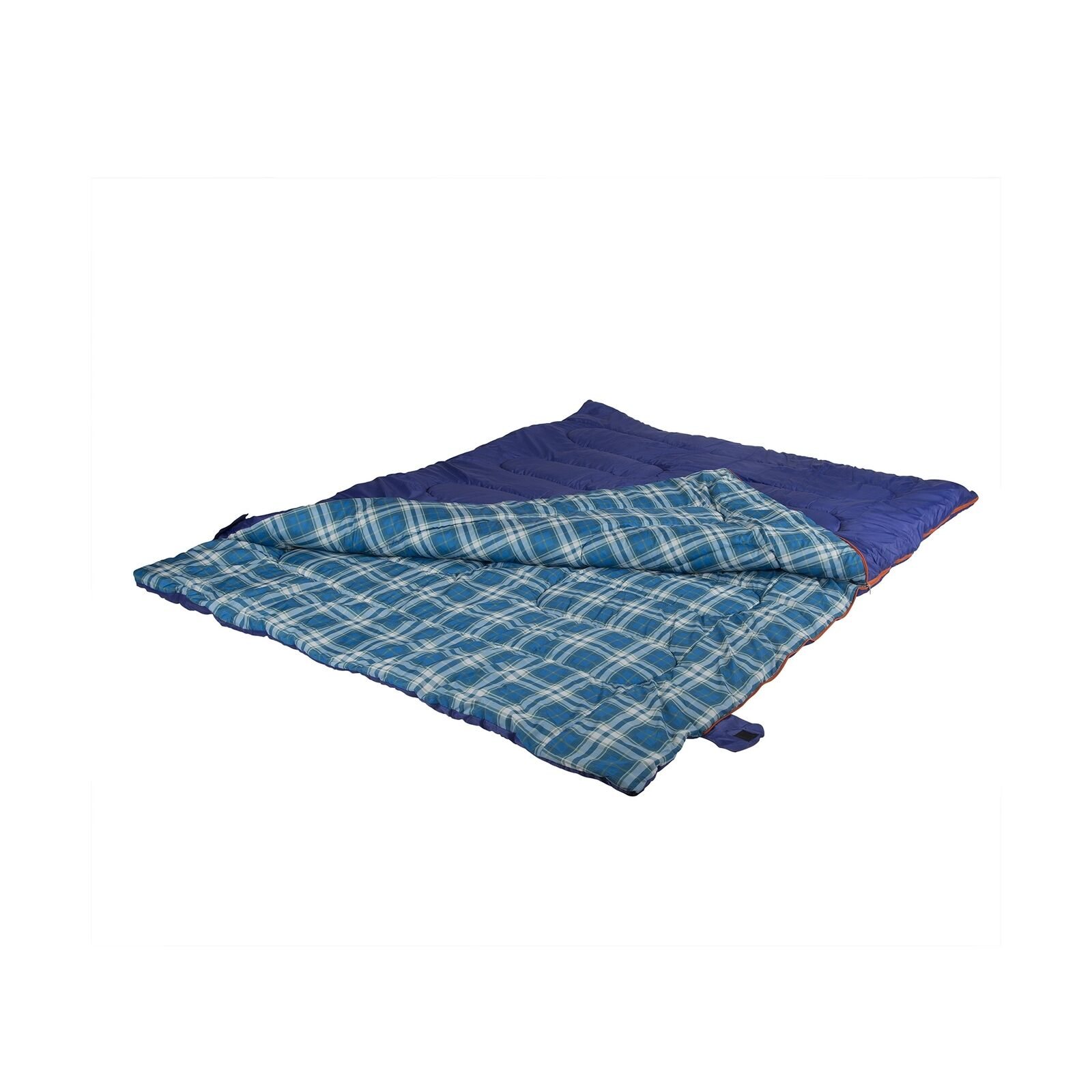 Double 2-Person Sleeping Bag, 87  x 66  Wide - Cobalt bluee