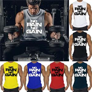 293c7011 Details about Men's No Pain No Gain Deep Cut Workout Vest Tank Top  Bodybuilding Gym Muscle Tee