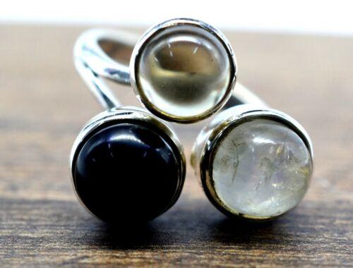 925 Sterling Silver Smoky Quartz Black Onyx Rainbow Moonstone 5.05 gms Rings CCI