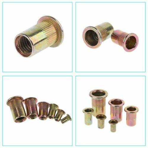 165Pcs M3-M8 Rivet Nut Kit Mixed Zinc Steel Rivnut Insert Nutsert Threaded Set