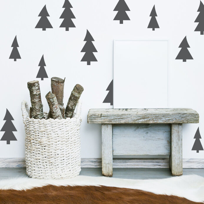 Christmas Tree, Tree Wall Decal, Rustic Wall Decor, Woodland Wall Decor