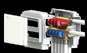 collettore acqua sanitaria k4 5 Fredda + 4 Calda in scatola attacco Fastec TECO